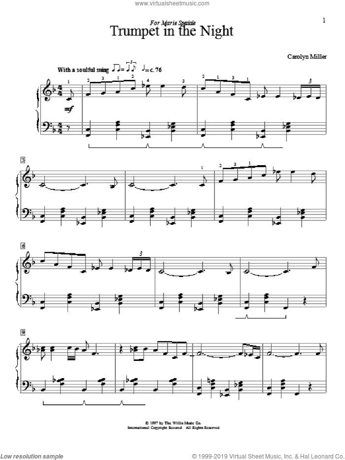 Trumpet In The Night sheet music for piano solo (elementary) by Carolyn Miller. Score Image Preview.