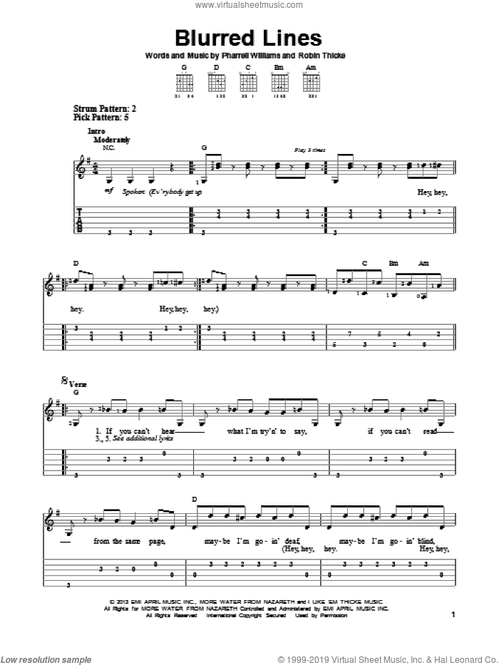 Blurred Lines sheet music for guitar solo (easy tablature) by Robin Thicke and Pharrell Williams, easy guitar (easy tablature)