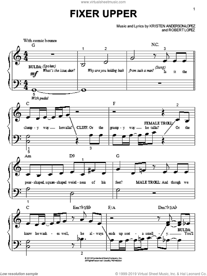Fixer Upper (from Frozen) sheet music for piano solo (big note book) by Robert Lopez and Kristen Anderson-Lopez, easy piano (big note book)