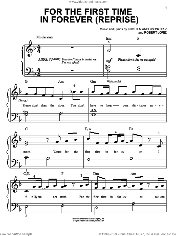 For The First Time In Forever (Reprise) sheet music for piano solo (big note book) by Kristen Anderson-Lopez and Robert Lopez. Score Image Preview.
