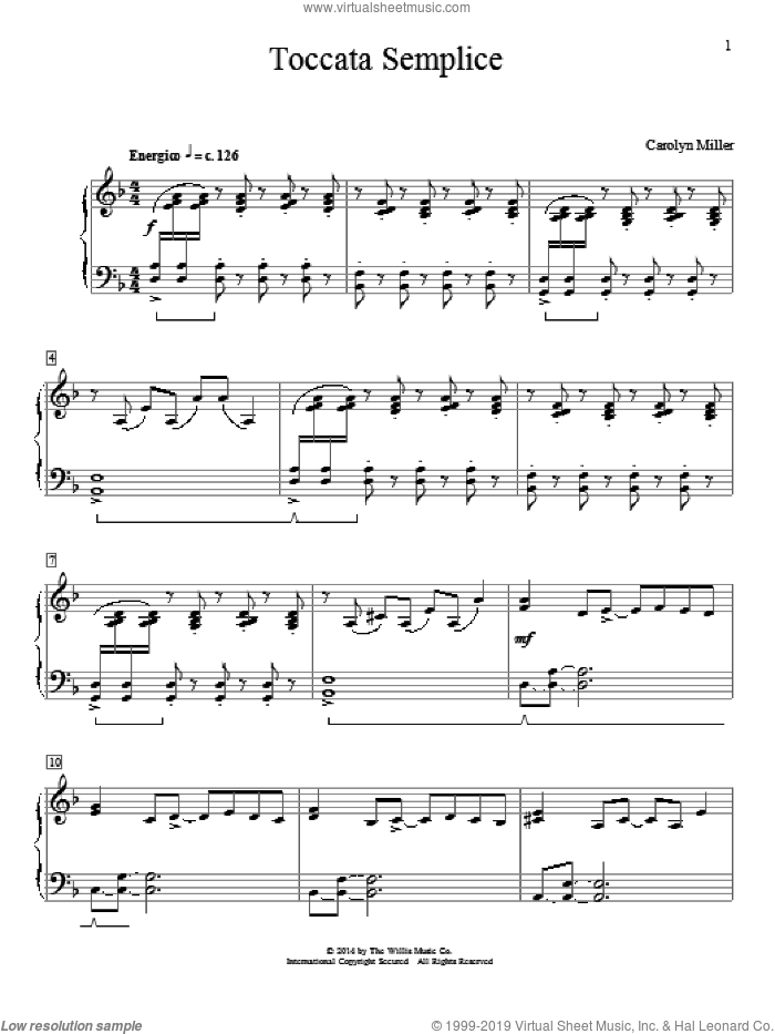 Toccata Semplice sheet music for piano solo (elementary) by Carolyn Miller, classical score, beginner piano (elementary)