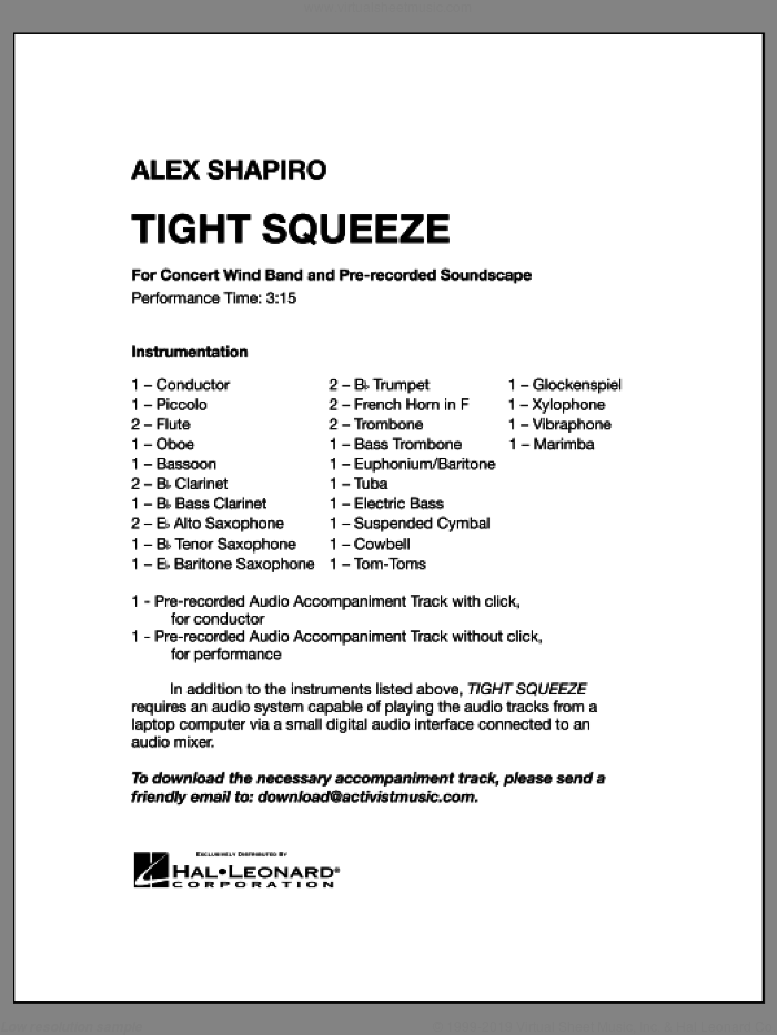 Tight Squeeze (COMPLETE) sheet music for concert band by Alex Shapiro, intermediate skill level