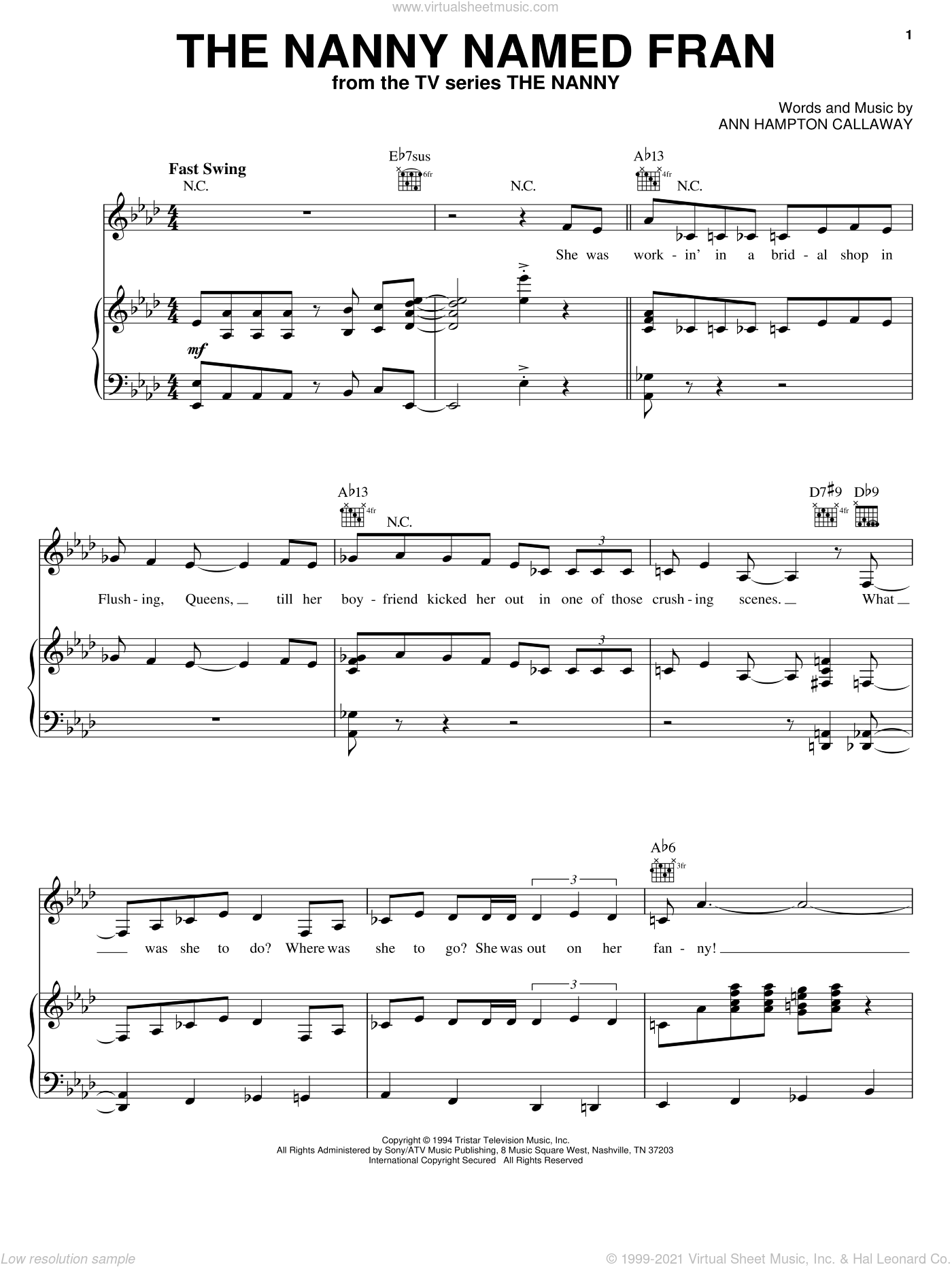 The Nanny Named Fran sheet music for voice, piano or guitar by Ann Hampton Callaway. Score Image Preview.