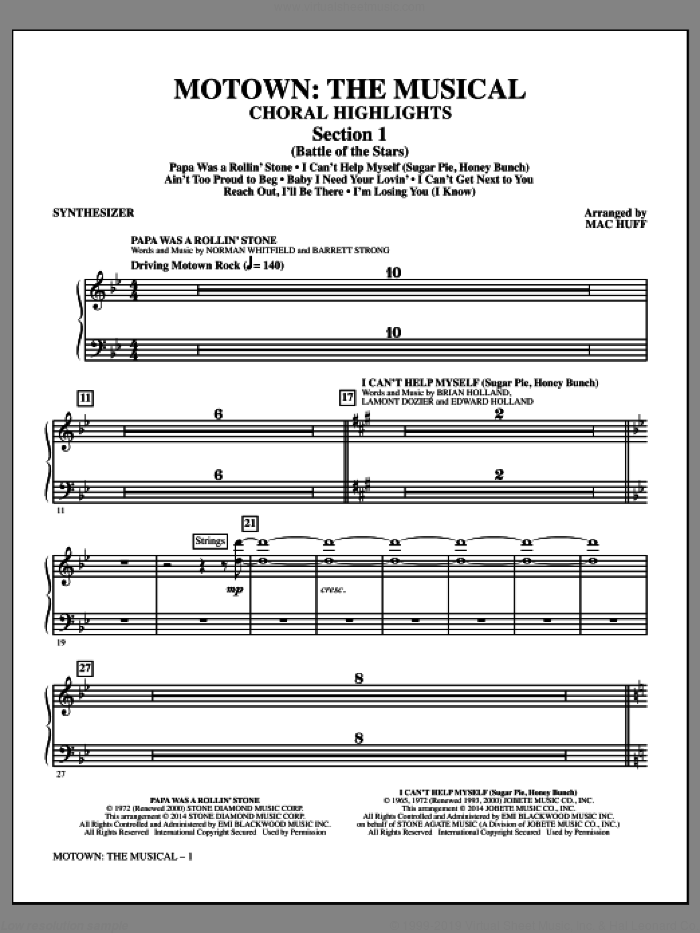 Motown: The Musical (Choral Highlights) sheet music for orchestra/band (synthesizer) by Mac Huff, intermediate skill level