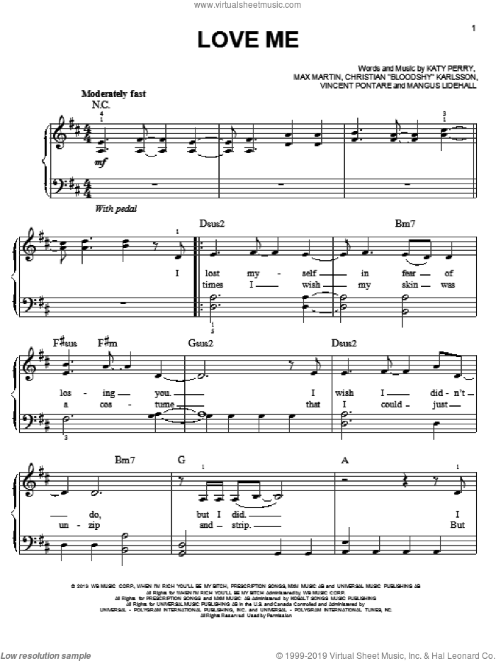 Love Me sheet music for piano solo by Katy Perry, easy skill level