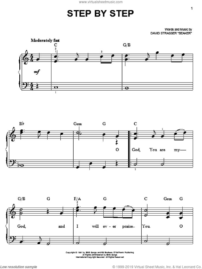 Step By Step sheet music for piano solo by David Strasser Beaker and Rich Mullins. Score Image Preview.