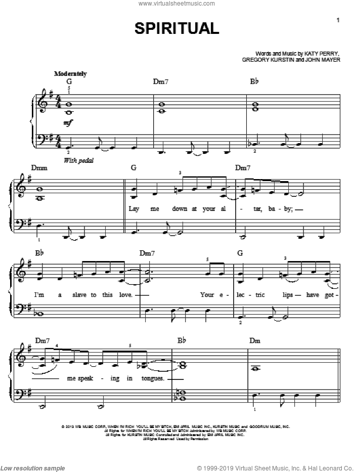 Spiritual sheet music for piano solo by Katy Perry. Score Image Preview.