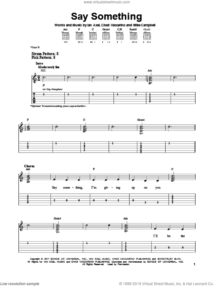 Say Something sheet music for guitar solo (easy tablature) by A Great Big World, easy guitar (easy tablature). Score Image Preview.