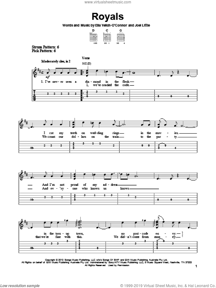 Royals sheet music for guitar solo (easy tablature) by Lorde, easy guitar (easy tablature)