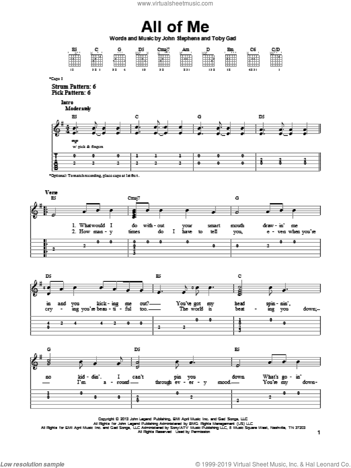 All Of Me sheet music for guitar solo (easy tablature) by John Legend. Score Image Preview.