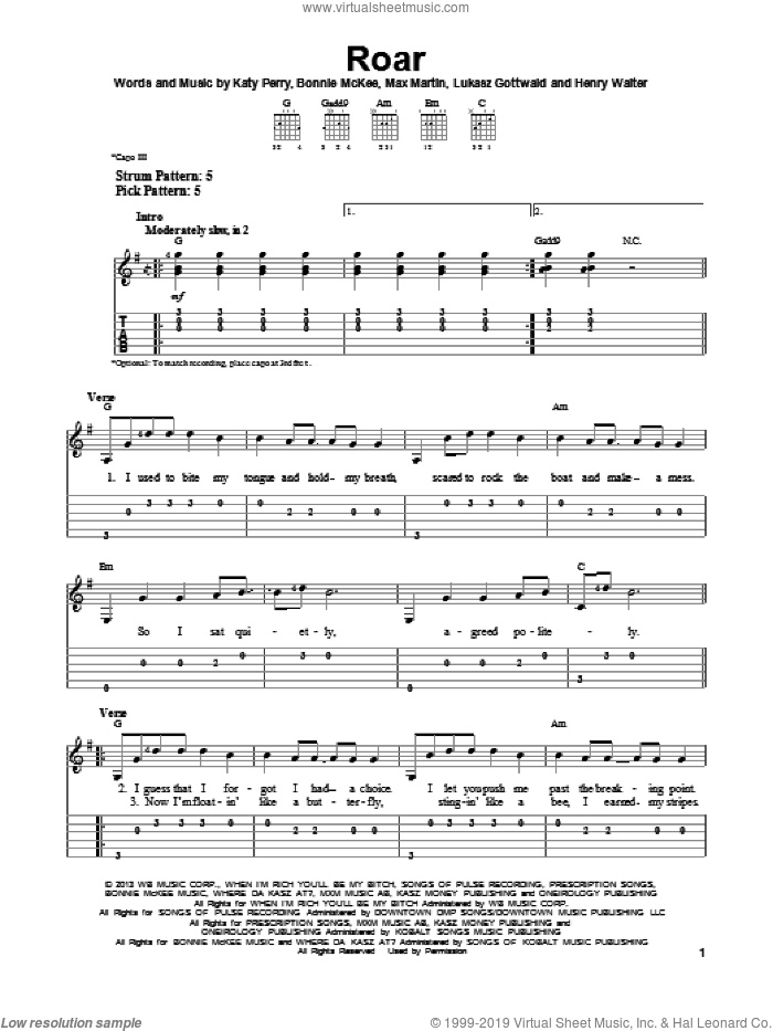 Roar sheet music for guitar solo (easy tablature) by Katy Perry, easy guitar (easy tablature)