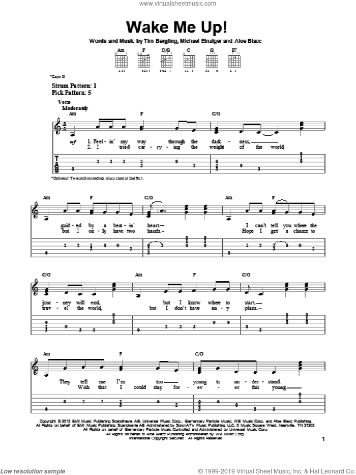 Wake Me Up! sheet music for guitar solo (easy tablature) by Avicii. Score Image Preview.