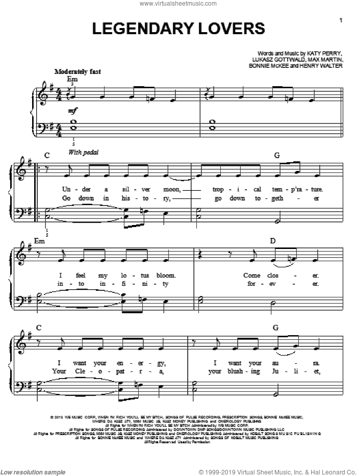Legendary Lovers sheet music for piano solo by Katy Perry. Score Image Preview.