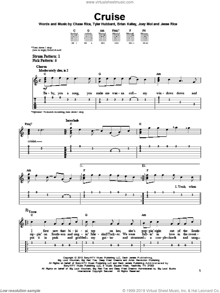 Cruise sheet music for guitar solo (easy tablature) by Florida Georgia Line, easy guitar (easy tablature)