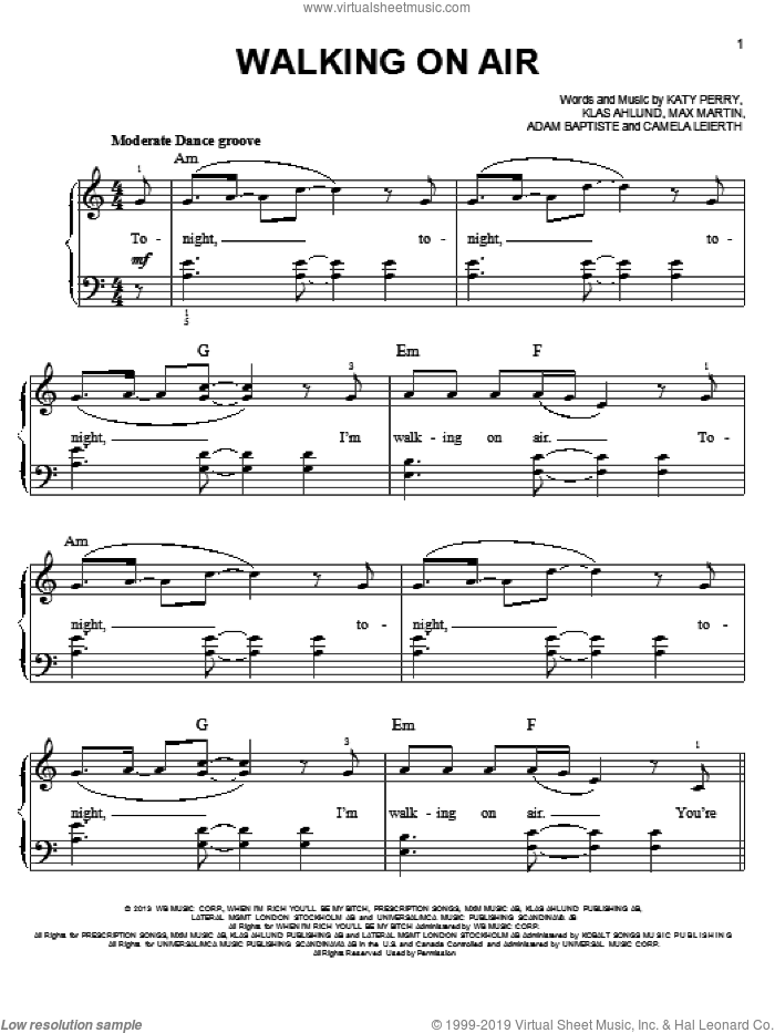 Walking On Air sheet music for piano solo by Katy Perry, easy. Score Image Preview.
