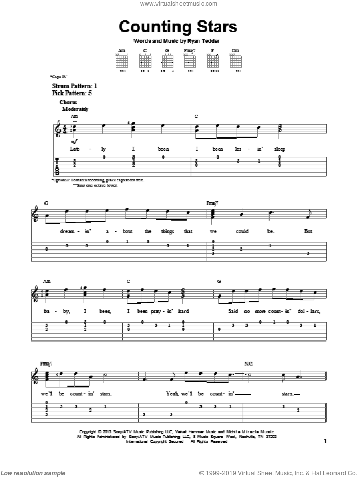 Counting Stars sheet music for guitar solo (easy tablature) by OneRepublic, easy guitar (easy tablature). Score Image Preview.
