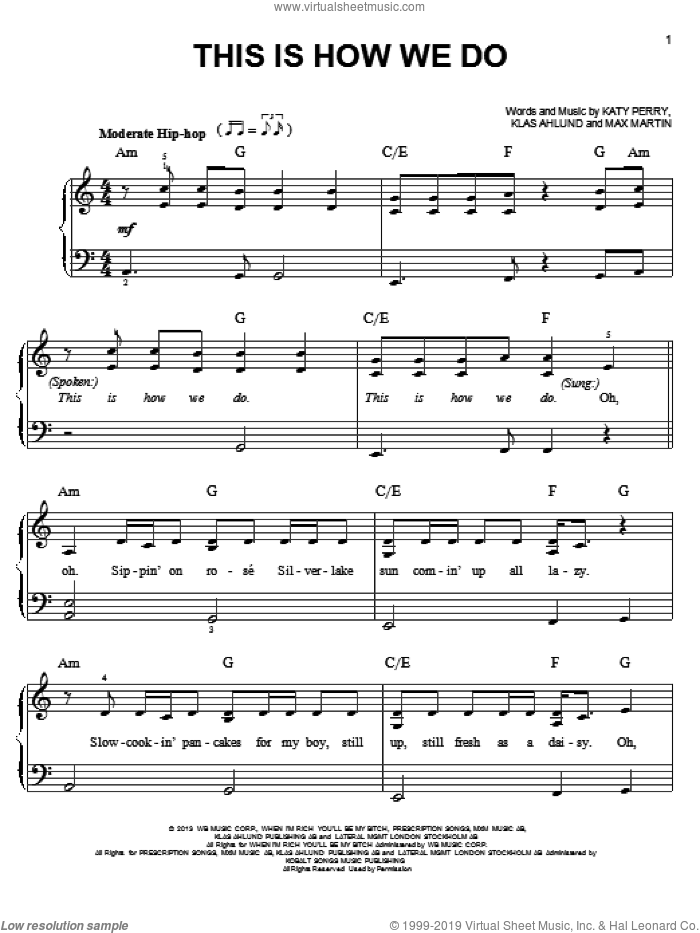 This Is How We Do sheet music for piano solo by Katy Perry, easy skill level