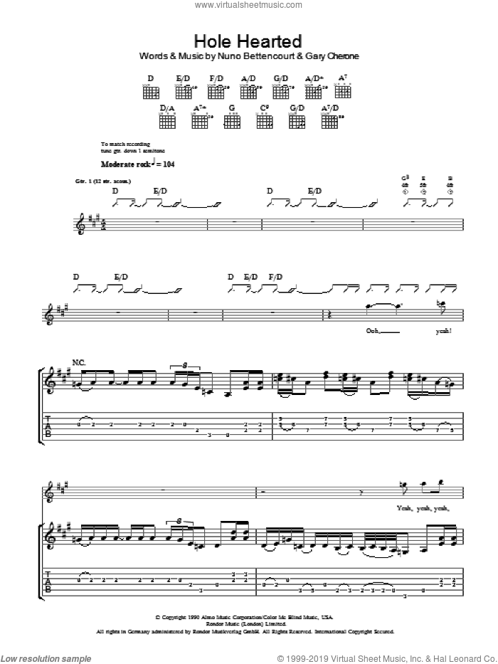 Hole Hearted sheet music for guitar (tablature) by Extreme, Gary Cherone and Nuno Bettencourt, intermediate skill level