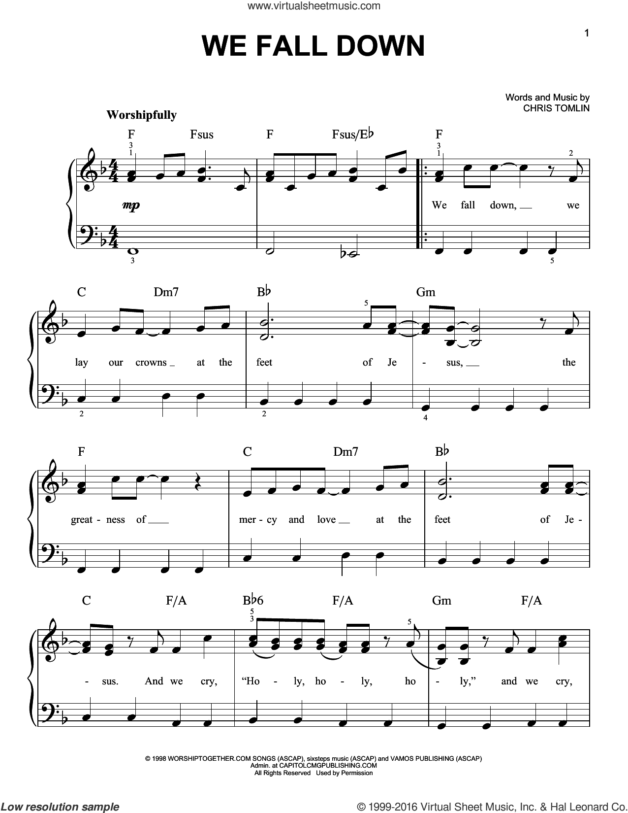 We Fall Down, (easy) sheet music for piano solo by Chris Tomlin and Kutless, easy skill level