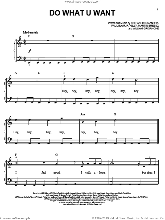 Do What U Want sheet music for piano solo by Lady Gaga. Score Image Preview.