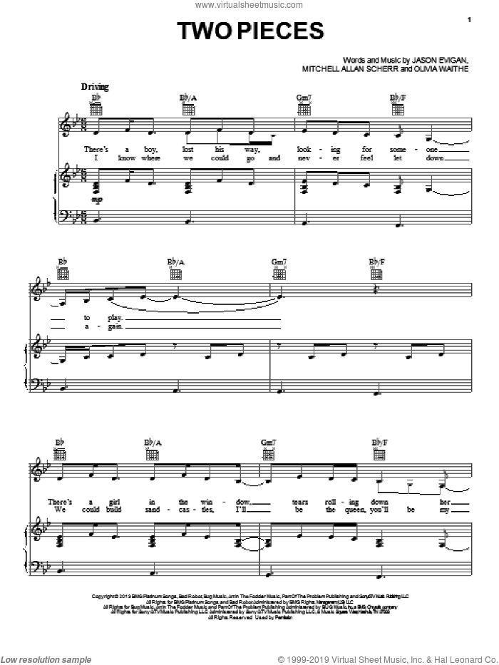 Two Pieces sheet music for voice, piano or guitar by Demi Lovato, intermediate skill level