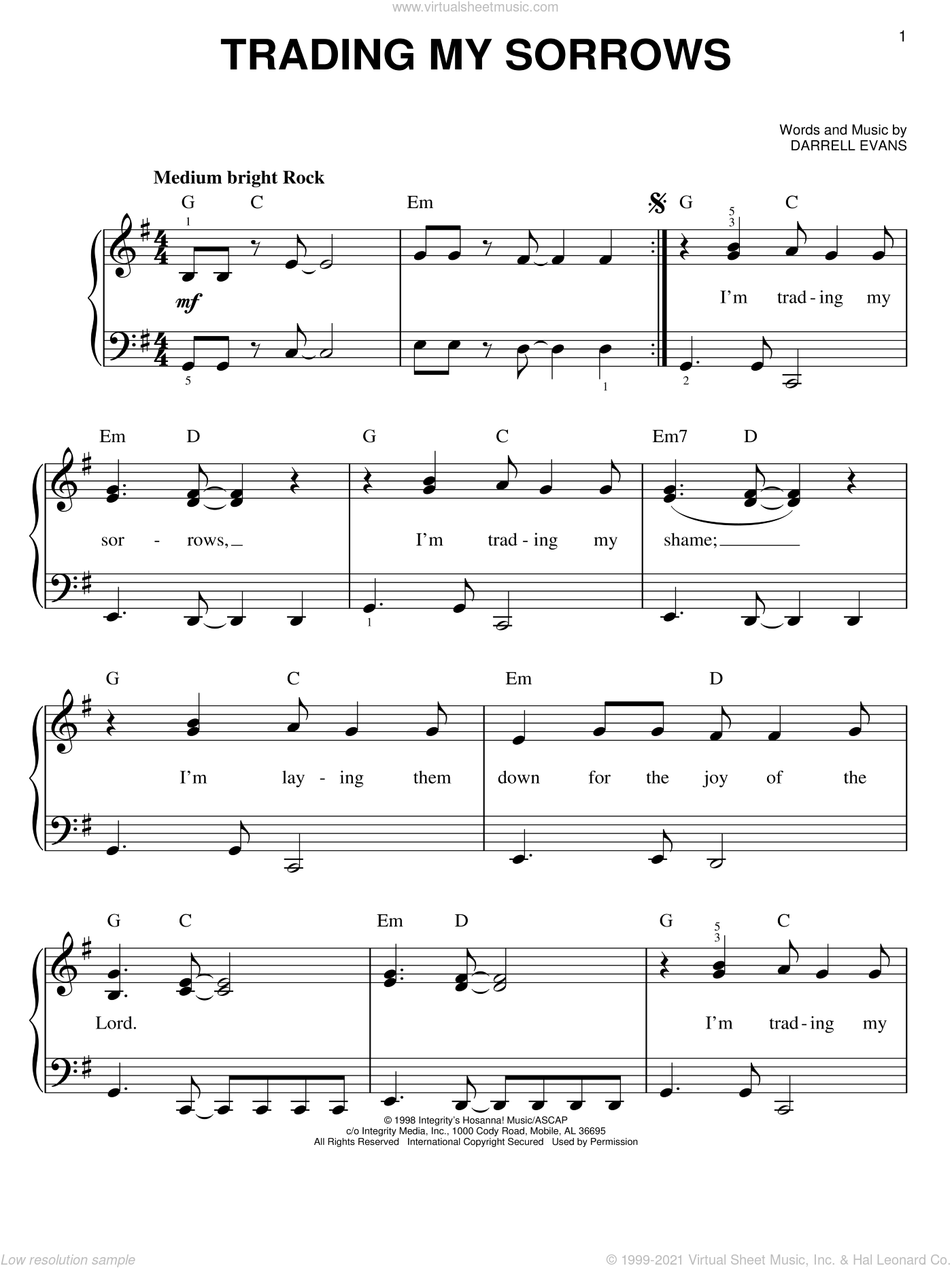Trading My Sorrows sheet music for piano solo by Darrell Evans, easy skill level