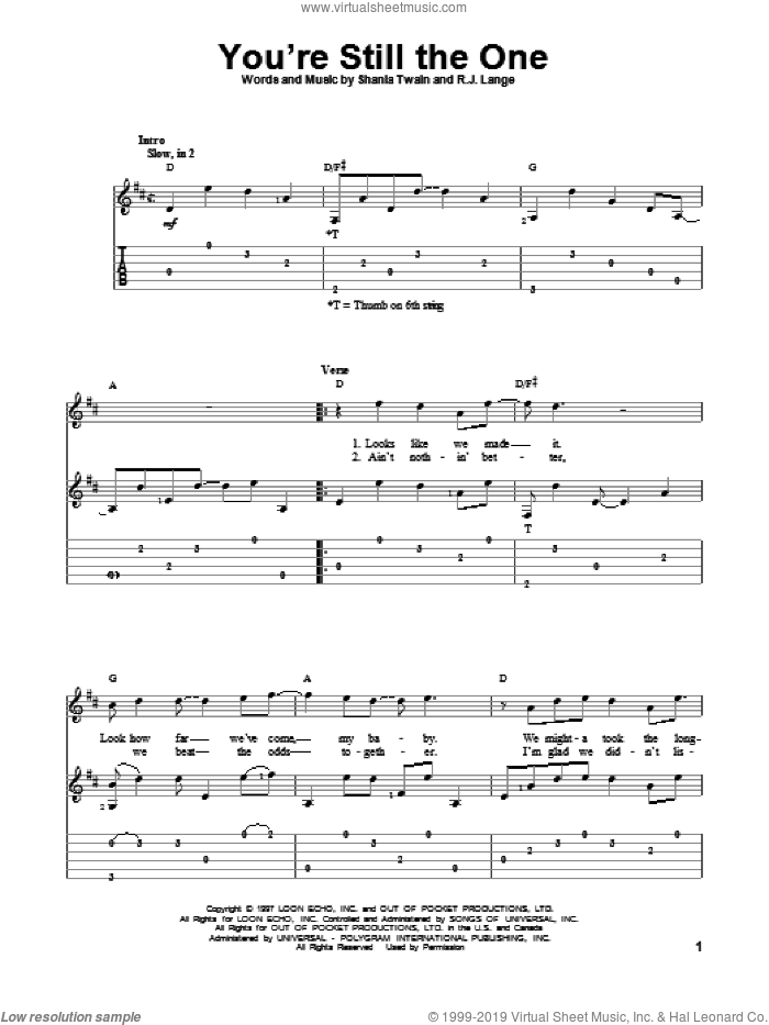 You're Still The One sheet music for guitar solo by Shania Twain, intermediate skill level