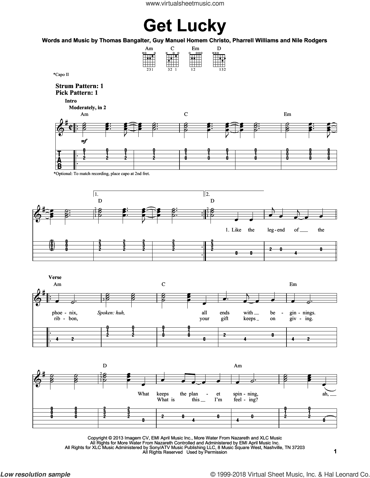 Get Lucky sheet music for guitar solo (easy tablature) by Daft Punk Featuring Pharrell Williams and Pharrell Williams. Score Image Preview.