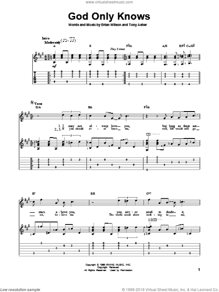 God Only Knows sheet music for guitar solo by The Beach Boys, intermediate skill level