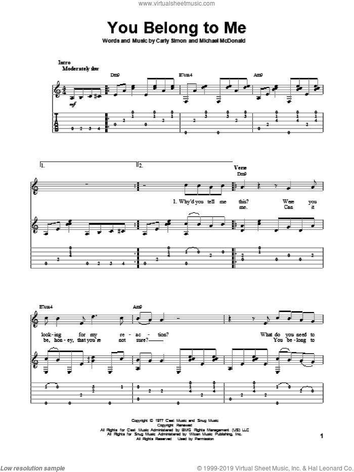 You Belong To Me sheet music for guitar solo by Carly Simon, Michael McDonald and The Doobie Brothers, intermediate guitar. Score Image Preview.