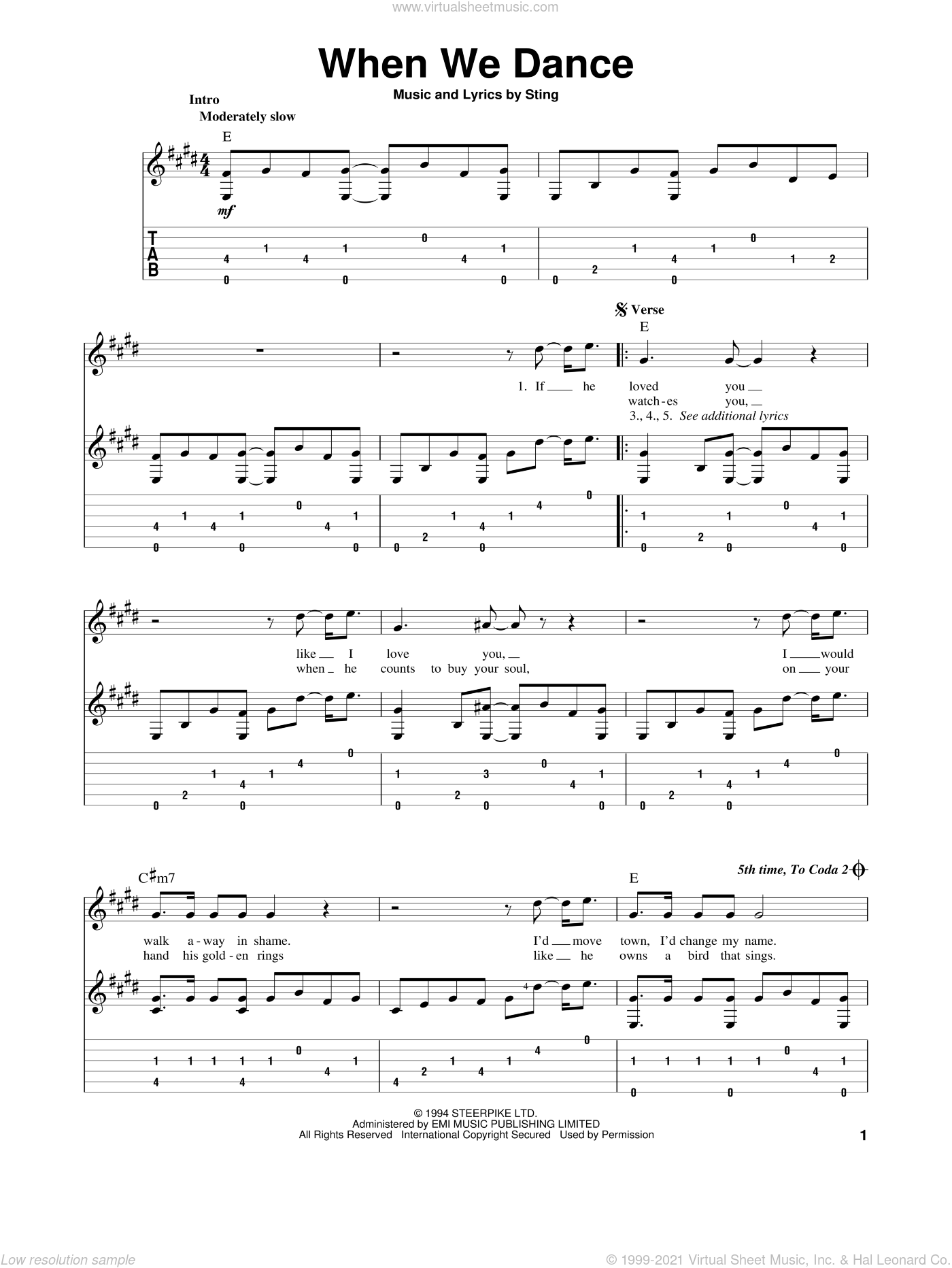 When We Dance sheet music for guitar solo by Sting. Score Image Preview.