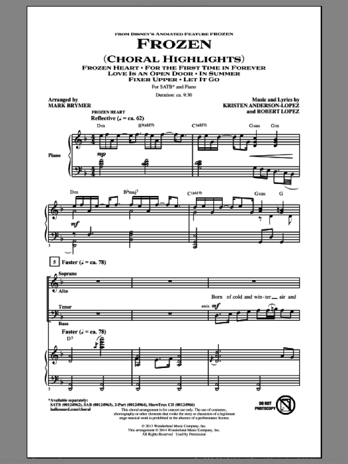 Frozen (Choral Highlights) sheet music for choir (SATB) by Mark Brymer, Kristen Anderson-Lopez and Robert Lopez. Score Image Preview.