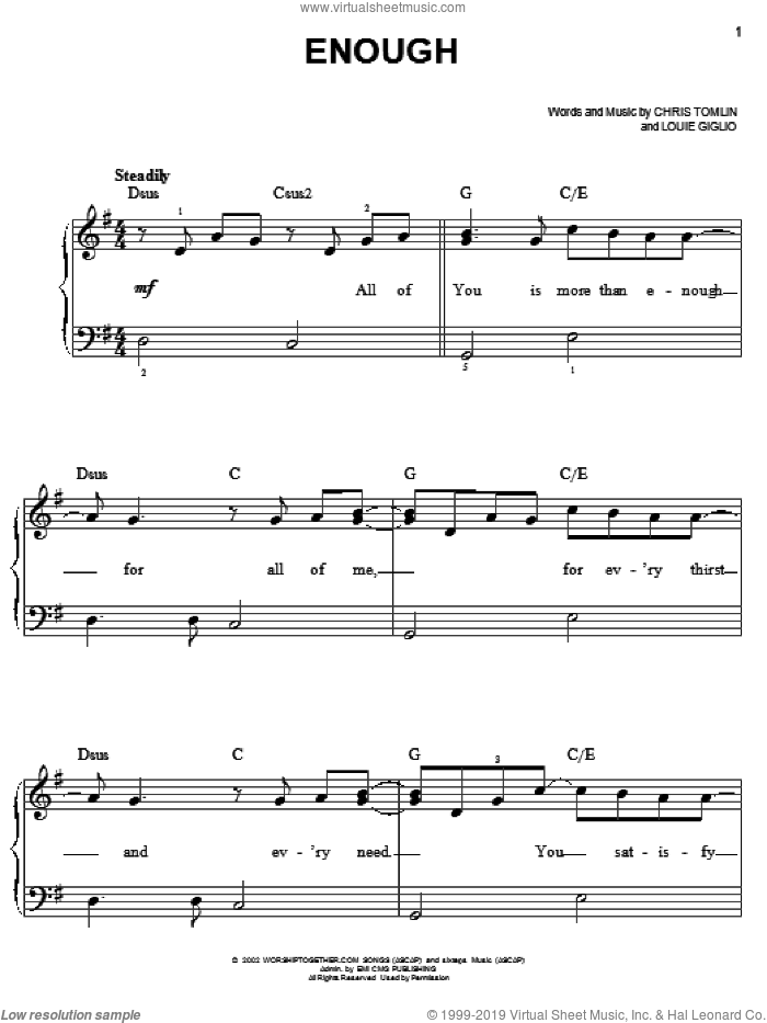 Enough sheet music for piano solo by Chris Tomlin and Jeremy Camp. Score Image Preview.
