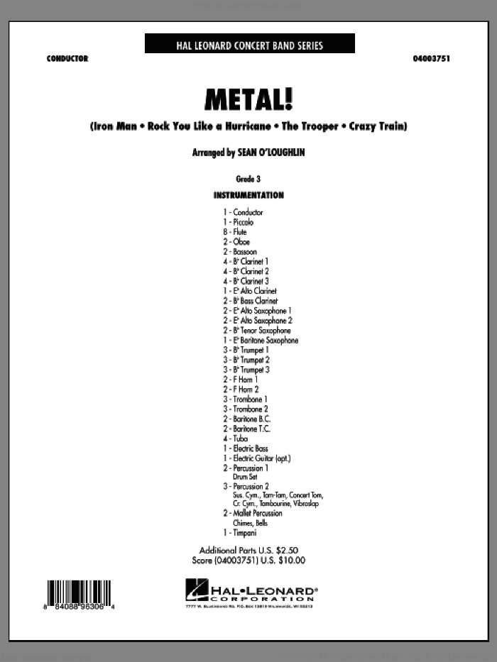 Metal! (COMPLETE) sheet music for concert band by Sean O'Loughlin, intermediate skill level