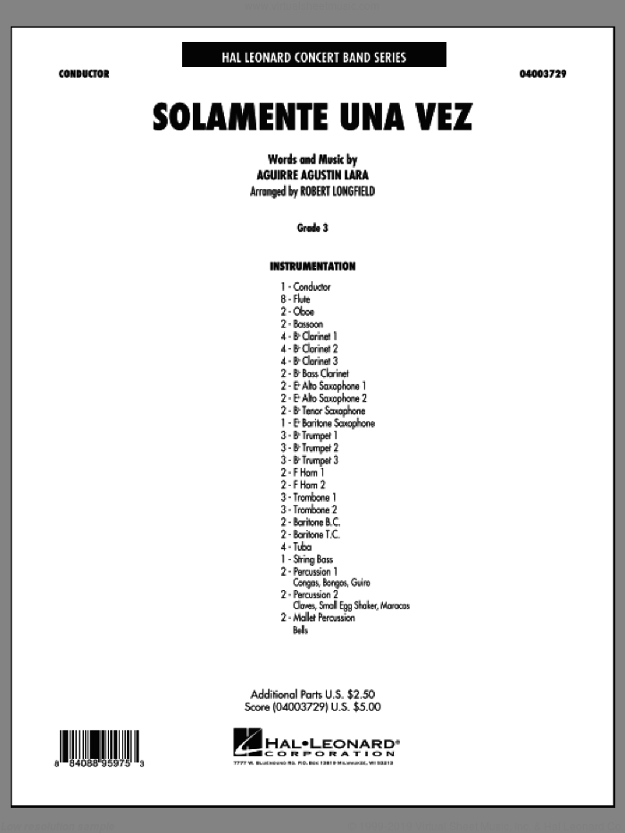 Solamente Una Vez sheet music for concert band (full score) by Robert Longfield