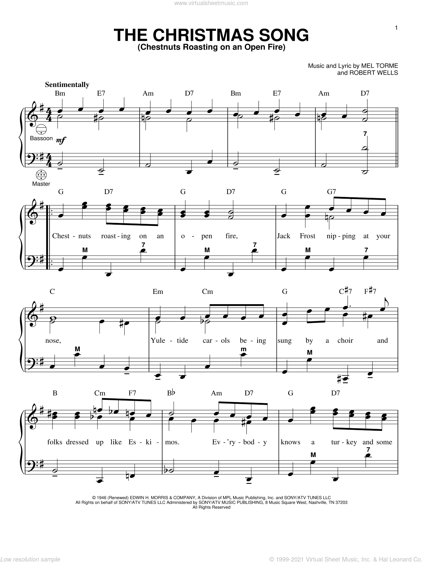 The Christmas Song sheet music for accordion by Robert Wells
