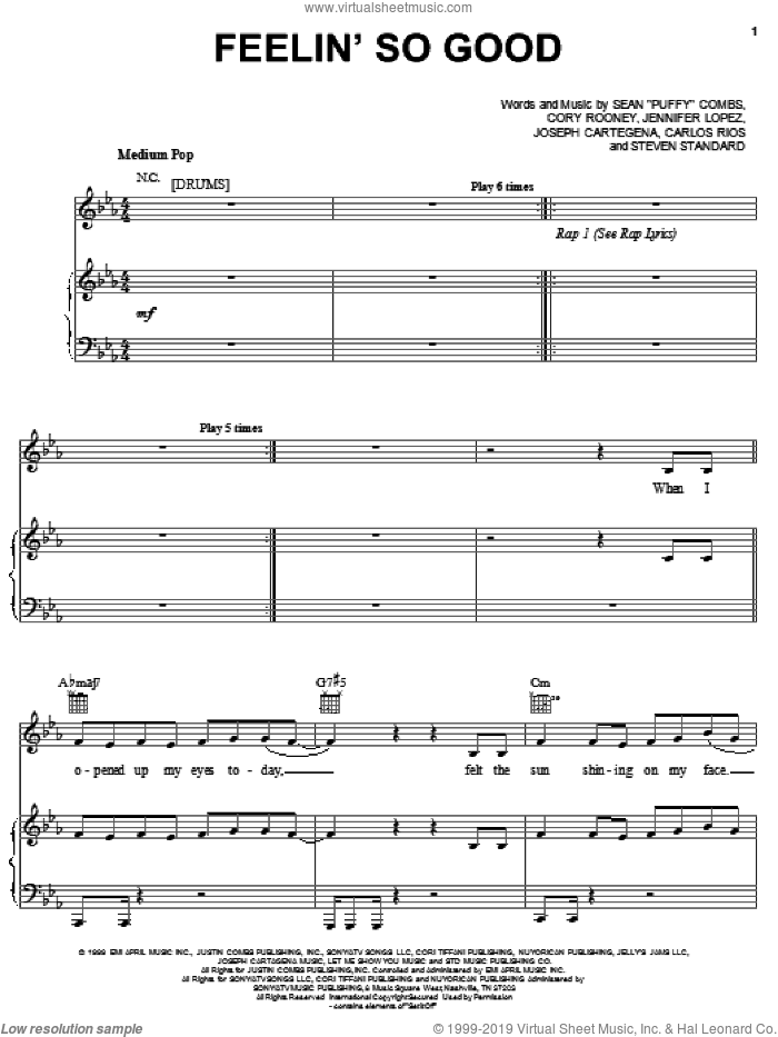 Feelin' So Good sheet music for voice, piano or guitar by Jennifer Lopez feat. Big Pun & Fat Joe, Fat Joe and Jennifer Lopez, intermediate voice, piano or guitar. Score Image Preview.
