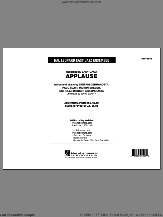 Applause (COMPLETE) sheet music for jazz band by John Berry