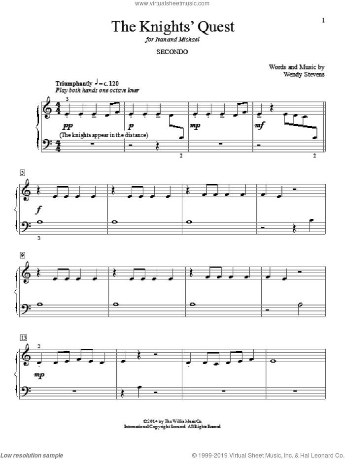 The Knights' Quest sheet music for piano four hands by Wendy Stevens, classical score, intermediate. Score Image Preview.