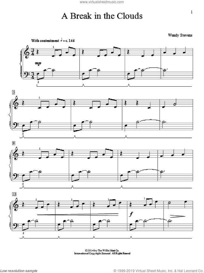 A Break In The Clouds sheet music for piano solo (elementary) by Wendy Stevens, classical score, beginner piano (elementary)