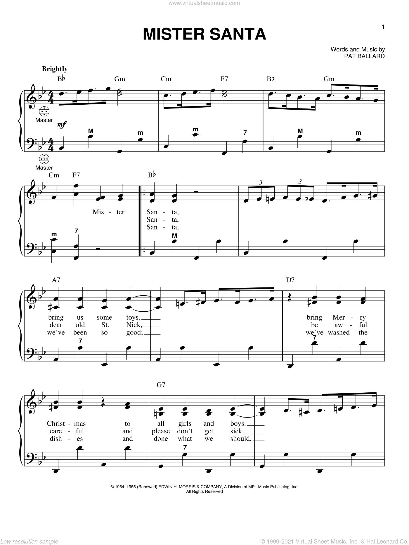 Mister Santa sheet music for accordion by Pat Ballard and Gary Meisner, intermediate skill level