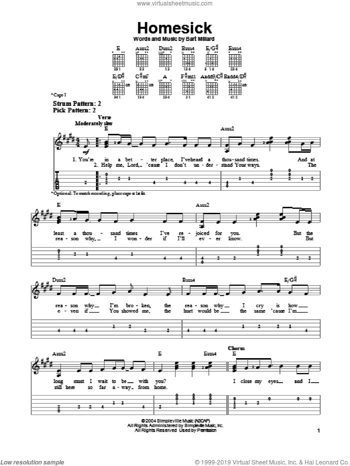 Homesick sheet music for guitar solo (easy tablature) by MercyMe and Bart Millard, easy guitar (easy tablature)