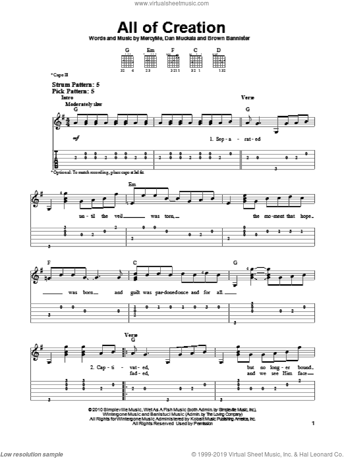 All Of Creation sheet music for guitar solo (easy tablature) by Dan Muckala and MercyMe. Score Image Preview.