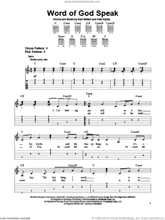 Word Of God Speak sheet music for guitar solo (easy tablature) by MercyMe, Bart Millard and Kutless. Score Image Preview.