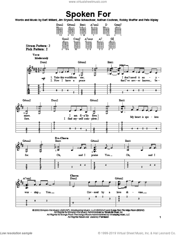 Spoken For sheet music for guitar solo (easy tablature) by MercyMe, Bart Millard, Jim Bryson and Nathan Cochran, easy guitar (easy tablature). Score Image Preview.