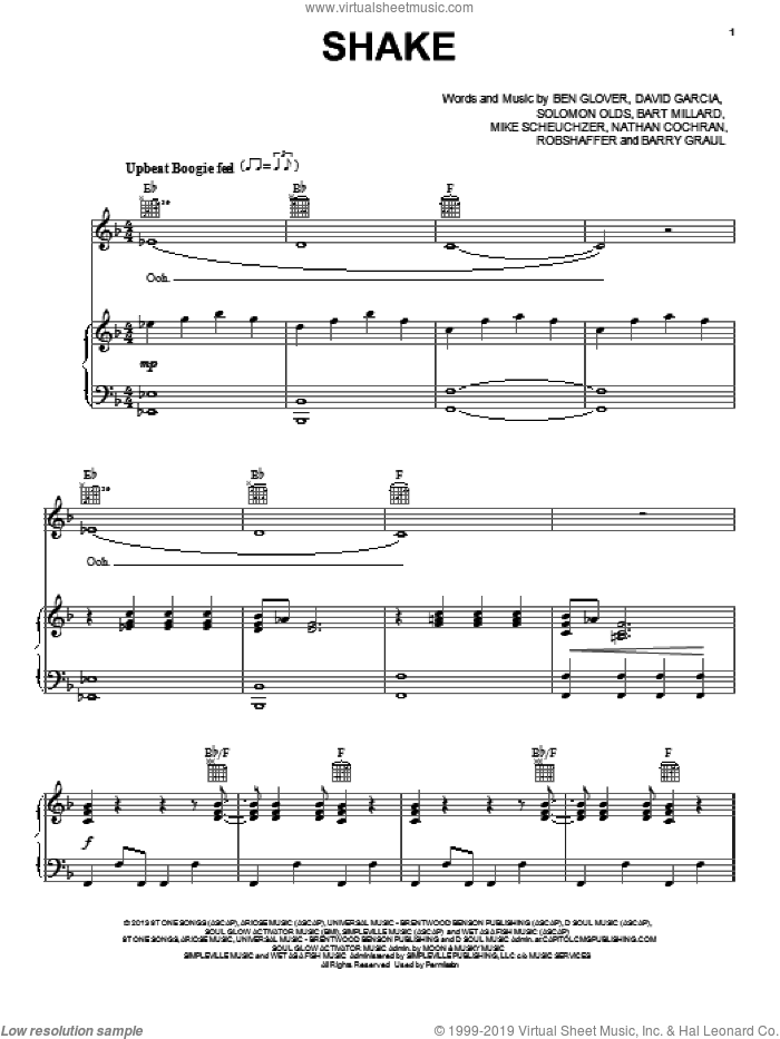 Shake sheet music for voice, piano or guitar by MercyMe, Bart Millard, Ben Glover, David Garcia and Solomon Olds, intermediate skill level