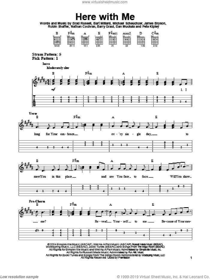 Here With Me sheet music for guitar solo (easy tablature) by Robin Shaffer