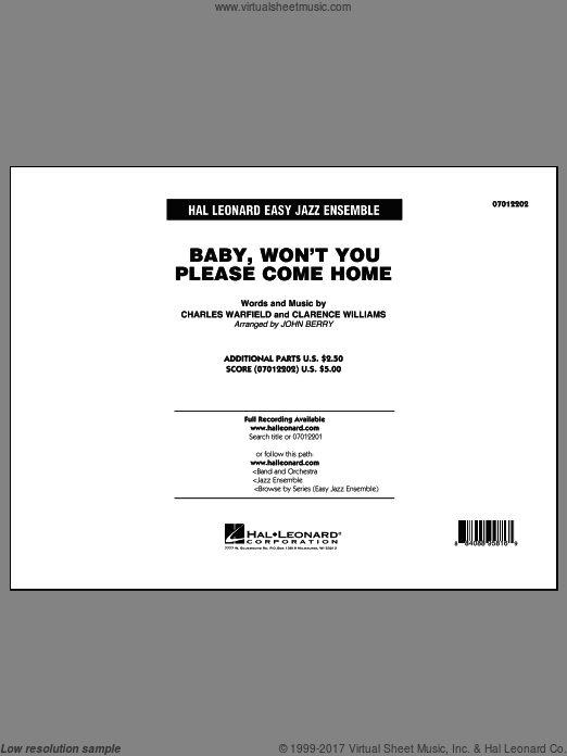 Baby, Won't You Please Come Home (COMPLETE) sheet music for jazz band by Clarence Williams