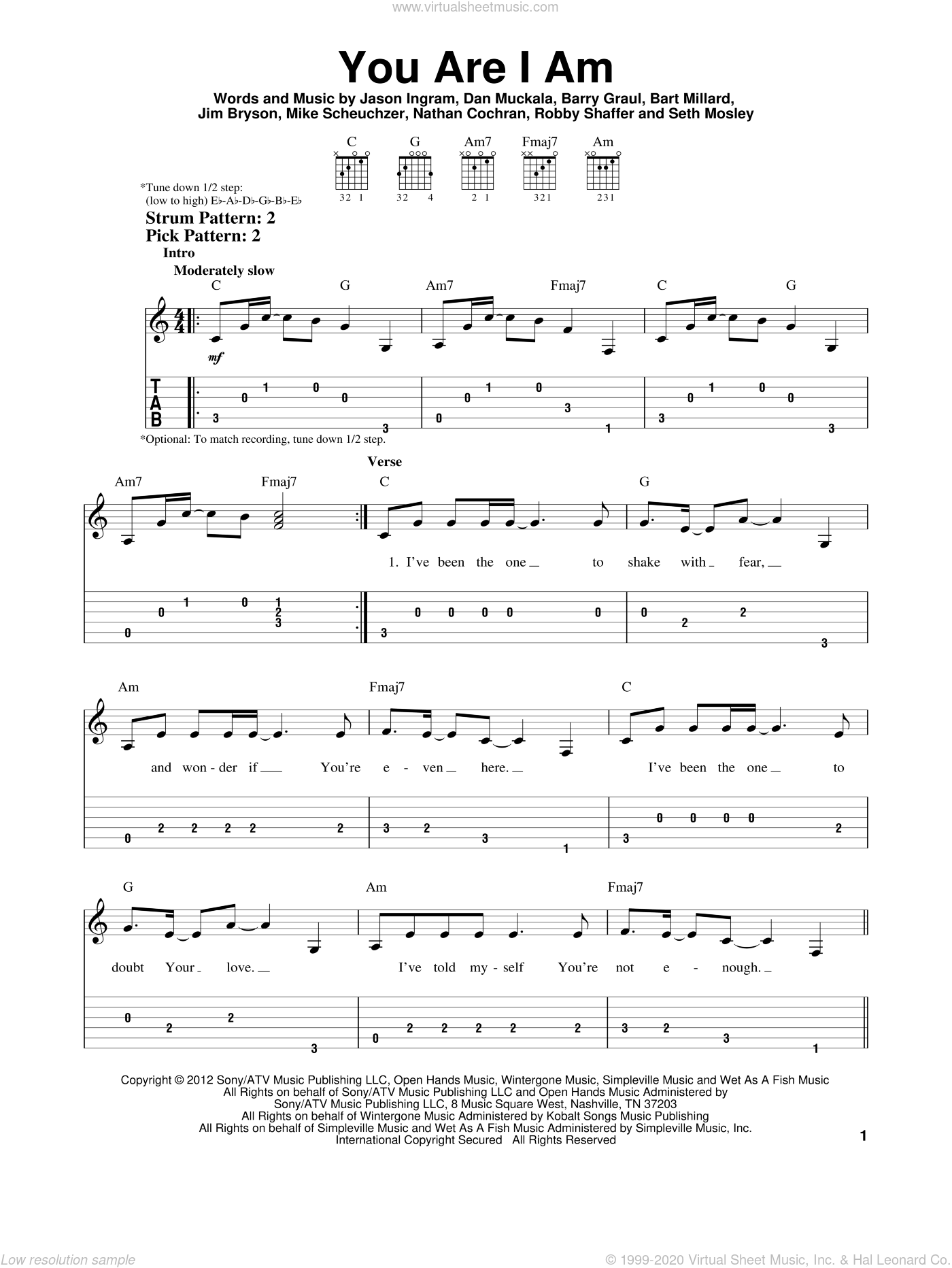 You Are I Am sheet music for guitar solo (easy tablature) by Seth Mosley