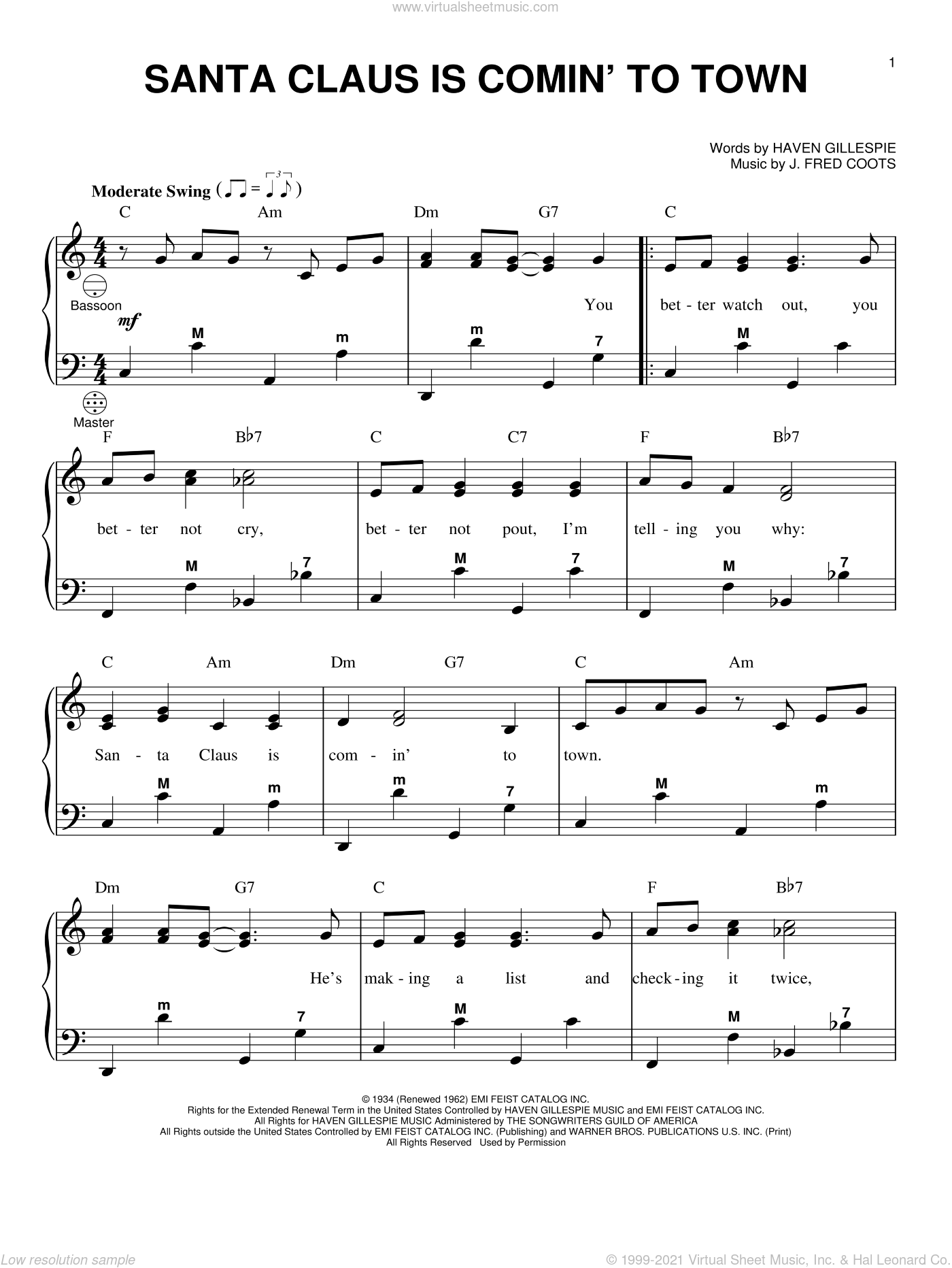 Santa Claus Is Comin' To Town sheet music for accordion by J. Fred Coots, Gary Meisner and Haven Gillespie, intermediate skill level
